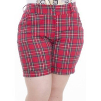 Short Bermuda Plus Size Xadrez Grunge Oxford Tam 46 48 50 52