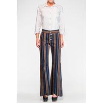 Calça Pantalona Tipo Flare Com Listras - Marca Belle & Bei