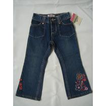 Calça Jeans Com Flores Na Barra - Osh Kosh - Tam. 2t