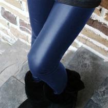 Legging Importada - Cirré - Brilhante - Imita P U - Azul