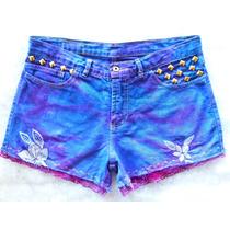 Short Jeans Customizado 40 Cintura Alta Com Rendas