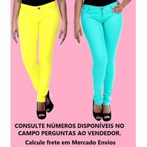 Calça Resinada Sawary Feminina Skinny Verde Amarela (234171)