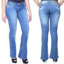 Calça Jeans Feminina Levanta Bumbum Flare Boca De Sino