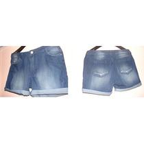 Short Jeans C/elastano Lavagem Com Puídos Discretos/tam 48