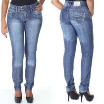 Calça Sawary Legging Jeans Com Elastano Zíper Cós Elástico