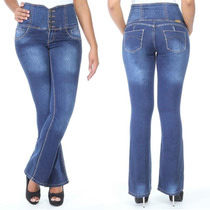 Sawary Calça Jeans Levanta Bumbum Cintura Alta Corset Flare