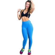 Calça Legging Tecido Bolha Moda Fitness Cós Alto F103