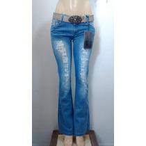 Calça Jeans Flare Dardak Rasgadinha Boca De Sino C/ Cinto