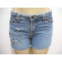 Shorts Jeans Com Taxões Tipo Customizado Tam 40 Bom Estado