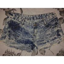 Short Jenas Na Cor Azul, Customizado Com Spikes