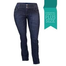 Calça Jeans Feminina Lycra Cós Alto Plus Size 1966