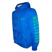 Blusa De Moletom Hollister Azul Royal Botão Hlj Original