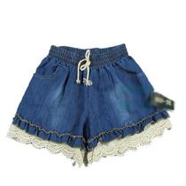 Short Jeans Com Detalhes Em Crochê - Tamanho Unico