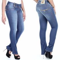 Calça Jeans Sawary Flare Média Levanta Bumbum Cós Largo