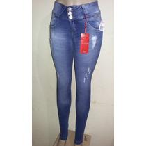 Calça Jeans Com Strech Com Zíper No Bolso Elastano Linda