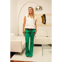 Calça Jeans Feminina Flare Colorida Com Elastano