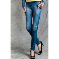 Legging Jeans Calça Leg Estampada Estrelas Pronta Entrega