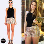 Shorts Estampa Animal Bordado Correntes