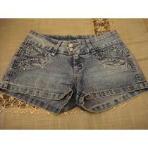Bermuda Jeans Detalhes Brilhos Tam 40 Short Como Novo