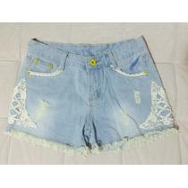 Short Bermuda Jeans Renda Lateral Lindo Moda Look Fashionist