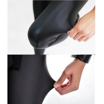 Calça Legging 100% Tecido Cirrrê Pu Efeito Couro E Molhado