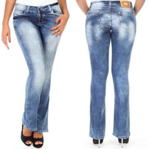 Calça Sawary Jeans Flare Cintura Média Levanta Bumbum Pit
