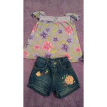 Short Jeans Aplicação Flores E Batinha Marisol Tam. 1