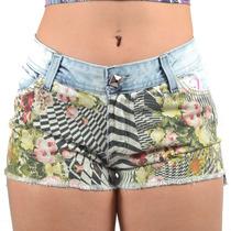 Shorts Feminino Tricats Jeans Grafite Flor