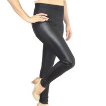Calça Legging Cotton Jeans C/ Bolsos E Detalhes De Cirre