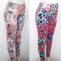 Calça Legging Plus Size Estampada Animal Print Em Suplex