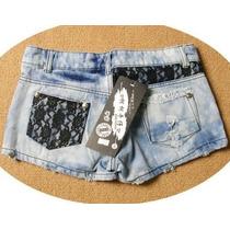 Short Jeans C/ Renda, Importado Feminino Festa Nº 36 -no B R
