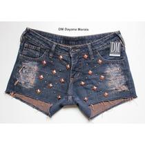 Short Jeans C/ Tachas - Dm Dayana Morais