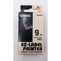 Fita Para Etiquetadora Casio Xr-9mm Original Preto No Verme.