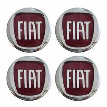 Kit Calotinha Centro De Roda Fiat Punto 49,6mm Logo Vermelho