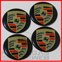Jg Emblemas Adesivo Calota Tampa Roda Porsche 69mm - 4 Pçs