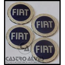 Jg Emblema Adesivo Calota Tampa Roda Fiat Azul 58mm - 4 Pçs