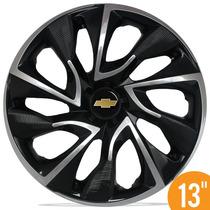 Calota Esportiva 13 Ds4 Preta Cromada Gm Celta Corsa Classic
