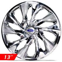 Jogo Calota Aro 13 Ds4 Esp Cromada Ford Fiesta 2001/...4pçs