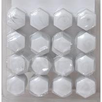 Kit Com 16 Capas Brancas Para Os Parafusos De Roda De Carro