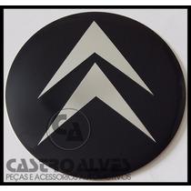 Emblema Adesivo Calota Miolo Roda Citroen Preto 90mm -1 Pç