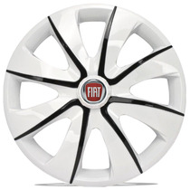 Jogo Calota 13 Prime White Black Para Fiat Palio Uno Siena V