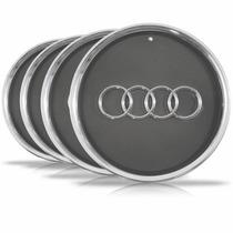 Jogo 4 Calota Centro Miolo Roda Esportiva Audi A3 Cromada
