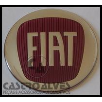 Emblema Adesivo Calota Tampa Roda Fiat Vermelho 58mm -1 Pç