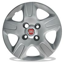 Jogo Calota Aro 14 Para Fiat Strada Cubo Alto + Emblema 4 Pç