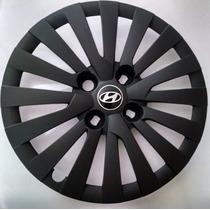 Calota Hb20 Aro14 Preto Fosca Emblema Alumínio Hyundai 117pf