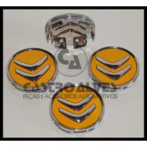 Calota Tampa Centro Roda Citroen Ds3 Ds4 Ds5 Amarela = 4 Pçs