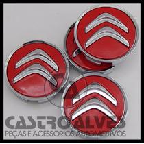 Jg Calota Miolo Tampa Roda Citroen C4 Picasso Vermelho-4 Pçs