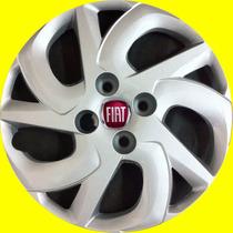Jogo Calota Aro 14 Uno Vivace Com Emblema Fiat Alumínio Novo