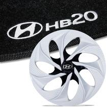 Jogo De Calota 14 Branca White Black + Tapetes Bordados Hb20