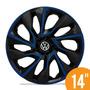 Calota Esportiva 14 Ds4 Black Blue Vw Fox Polo Golf 5 Furos